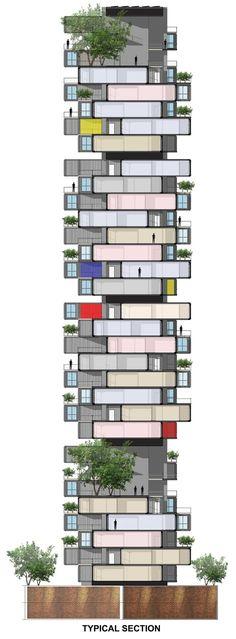 Image 8 of 11 from gallery of GA Designs Radical Shipping Container Skyscraper for Mumbai Slum. Image Courtesy of GA Design Container Architecture, Container Buildings, Green Architecture, Futuristic Architecture, Residential Architecture, Architecture Design, Architecture Diagrams, Building Architecture, Concept Architecture
