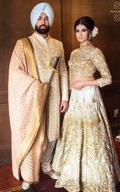 """Résultat de recherche d'images pour """"sikh white and gold wedding dress"""" Image Search Result For """"sikh white and gold wedding dress"""" Indian Wedding Couple, Indian Wedding Outfits, Bridal Outfits, Indian Bridal, Indian Outfits, Bridal Dresses, Indian Weddings, Eid Outfits, Eid Dresses"""