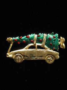 Enamel Christmas Holiday Car With Tree Pin Brooch