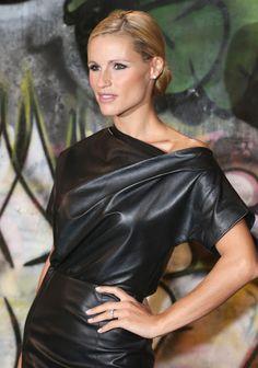 Michelle Hunziker looking amazing in leather dress
