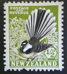 Fantail Stamp - by Jane Crisp Note card from Image Vault Ltd