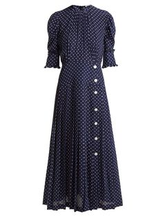 Kate Middleton just raised the style bar by wearing a polka-dot print Alessandra Rich dress, which we've also spied on Sarah Jessica Parker. Beautiful Summer Dresses, Fabulous Dresses, Pretty Dresses, Dot Dress, Silk Dress, Modest Fashion, Fashion Outfits, Daytime Dresses, Matches Fashion