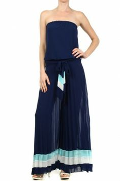 #salediem #jumpsuit #rompers  Strapless chiffon jumpsuit with a wide, pleated leg and a belted waist.