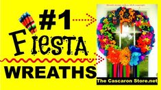 Fiesta Wreaths in San Antonio at The Cascaron Store by Lou Most beautiful Viva Fiesta Wreaths. Home door wreaths or business gates fiesta decorations and gar. Alamo Heights, Fiesta Decorations, Fiesta Party, Door Wreaths, Store Design, Garland, Make It Yourself, Halloween, Fiestas