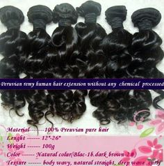 """AAAA Grade 100% Peruvian Remy Human Hair Weft Real Virgin Peruvian Hair Extensions Deep Wave Curly 18"""" 22"""" 2 Bundles 200 Grams Unprocessed Black 1B by JQY. $179.99. 1)100% brand new and high quality  Product: 100% Virgin Remy peruvian hair. (no clips on it )  2)Versatility: Can be Pressed, Dyed or Curled  3)Color:  natural black  4)Texture: Body Wave  5)Quality: Premimum Peruvian  6)Weight: 100g per bundle (about 3.5oz)  7)Available length: 12'', 14'', 16'', 18'', 20'' ,..."""