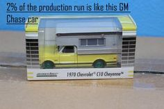 Greenlight 29783 1:64 Scale 1970 Chevy C10 Cheyenne Pickup Truck Yellow with Large Camper Diecast (Hobby Exclusive) Green Machine Chase Car 2% of the Production Run Scarce Aprox 81 Produced Worldwide