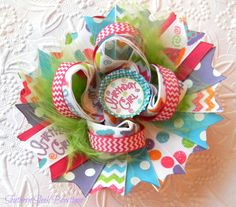 Birthday Bow With Chevron Hot Pink, Purple, Turquoise Blue, Lime Green Happy Birthday Boutique Stacked Hair Bow on Etsy, $9.00