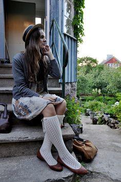 skirt and socks and cardigan