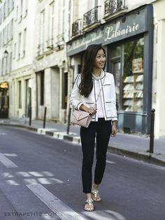 Exploring Paris: Tweed jacket, striped tee + jeweled sandals