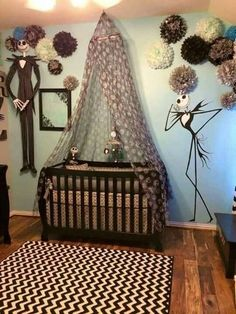 Baby nursery themes - 14 Inspired Baby Room Nightmare Before Christmas Interior for This Season – Baby nursery themes Baby Bedroom, Baby Boy Rooms, Baby Boy Nurseries, Baby Beds, Room Baby, Pine Bedroom, Girl Room, Christmas Interiors, Christmas Bedroom