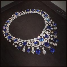 A beautiful Graff Necklace, featuring 334 Diamonds and 26 deep blue Sapphires