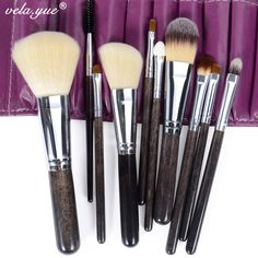 Professional Makeup Brush Set 10 Pieces Soft Hair Beauty Tools Kit with Violet Case //Price: $15.98 & FREE Shipping //     #trendingproducts