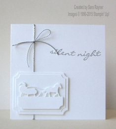 handmade Christmas card ... sleigh ride on labels die cuts .... white on white ...
