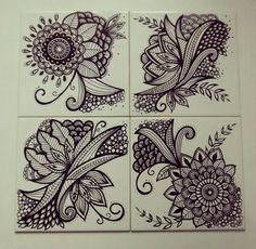 Azulejos - série Flores Desenho com Posca