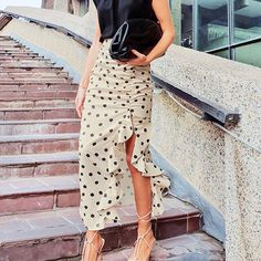 Polka dot ruffle long skirt high waist streetwear vintage asymmetrical – cuteshoeswear a line skirt outfits cute outfits skirts fashion skirts skirts and dresses #dresstoskirtrefashion #skirtstyle #skirtfall #tshirtandskirt A Line Skirt Outfits, A Line Skirts, Fall Skirts, Cute Skirts, Womens Maxi Skirts, Asymmetrical Skirt, Office Ladies, Fashion Editor, Skirt Fashion