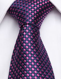 Vellutino Piccolo Navy Blue Silk Tie with Fuschia Squares This navy-blue woven silk tie features a fine contrasting fuschia diamond check pattern that exudes superior artistry Sharp Dressed Man, Well Dressed Men, Navy Dress, Men Dress, Fuschia Wedding, Wedding Colors, Navy Bridesmaid Dresses, Bridesmaids, Tie And Pocket Square