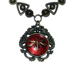 Steampunk Jewelry - NECKLACE - Dragons and Red Dragonfly