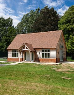 Border Oak - Oving Village Hall Barn House Plans, Cottage House Plans, Barn Plans, House Cladding, Exterior Cladding, Bungalow Extensions, House Extensions, Bungalow Exterior, Dream House Exterior
