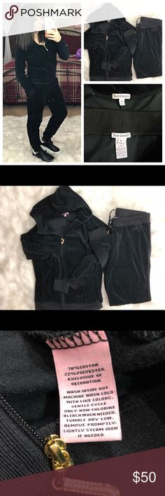 """Juicy Couture velour jogger hoodie & pants set Both size medium in guc. Rhinestone missing in zipper. Both have """"juicy"""" written in them. Striped detailing. I'm 5'4 for height reference. Bundle and save on shipping as I discount bundles Reasonable offers only please and low balls will not be considered Juicy Couture Jackets & Coats"""