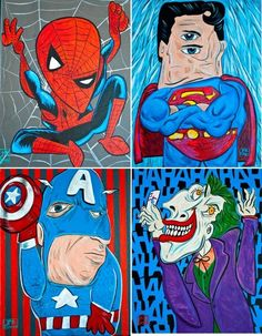 High School Art Project: If Picasso Drew A Superhero. Talk about abstraction, creativity, color, representational vs realism, and portraits.