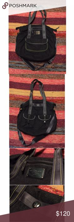 Lululemon 'Lucky' Tote This gorgeous bag is in great condition. This tote is incredibly versatile - use for travel, the gym, an overnight, even as a diaper bag - this bag has pockets for everything!!! It is a beautiful dark grey wool material with a fun lime Lulu print interior (with even more pockets!) This tote has shoulder strap as well that can be removed • rare • no pilling or wear on the outside/inside • no stains on the inside • great bag😊👌🏽 reasonable offers accepted!!!!✅…