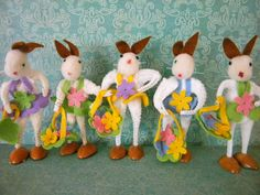 5 Vintage Easter Bunnies Bump Chenille Pipe by SongbirdSalvation