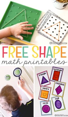 Free Shape Printables Teaching shapes is so much fun with little learners. Check out these 5 FREE shape activities to use during your math instruction! Shape Activities Kindergarten, 2d Shapes Activities, Teaching Shapes, Teaching Math, In Kindergarten, Preschool Activities, Preschool Shapes, Math Games, Printable Shapes