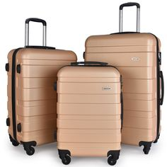 """Luggage Set Spinner Hard Shell Suitcase Lightweight Carry On - 3 Piece (20"""" 24"""" 28"""") (Champagne)"""