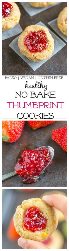 Healthy No-Bake Thumbprint Cookies Recipe- Ready in just 10 minutes and SO delicious- They taste like dessert but packed full of nutrients! Perfect too for Valentine's day and Mother's day! {vegan, gluten free, paleo options} thebigmansworld.com