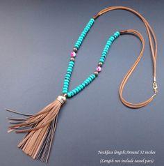 Pedra Natural turquesa roda de couro colar de contas borla colar Bohemian longo cola