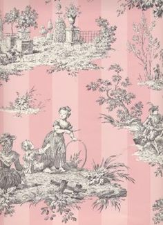 Pink Toile By Oldrose Bathroom Wallpaper French Stripe