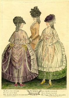 1782 print     Summer dresses  Description  Three ladies stand, two wearing light transparent dresses, through which their nude figures are visible. The third, who is partly concealed behind and between the other two, wears tight coat unbuttoned to show ruffles. The other two wear lace fichus, frilled aprons, and frilled petticoats. All wear hats.  British Museum J,5.139