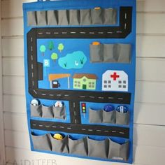 Items similar to Toy car storage and playmat hanging wall organizer on Etsy Sewing For Kids, Diy For Kids, Crafts For Kids, Car Organization Kids, Hanging Wall Organizer, Hanging Storage, Toy Car Storage, Felt Play Mat, Play Mats