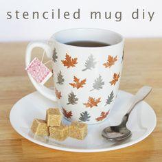Diy: How to Stenciled Leaf Mug