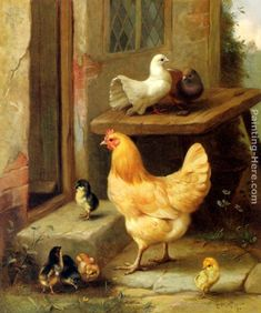 Edgar Hunt - A Hen, Chicks And Pigeons