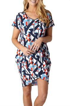 Layer'd Printed Origami Tee Dress - Womens Knee Length Dresses at Birdsnest Fashion