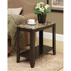 @Overstock - Decorate your home with this attractive cappuccino/marble finished furniture. This table features wood construction for long-lasting good looks 22 h $89.99