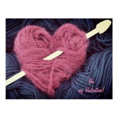 Cute pink wool heart with knitting needle postcard  $1.10  by 21st_century_vintage  - cyo customize personalize unique diy idea