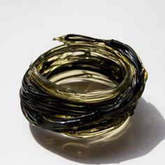 Gaetano Pesce Resin Bracelet in Clear and Dark Green