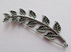 Object: Kilt Pin / Shawl Pin stem of leaves by TheIrishKnittingRoom Shawl Pin, Kilt Pin, Yarn Bowl, Diy Accessories, Antique Silver, Cuff Bracelets, Great Gifts, Brooch, Leaves