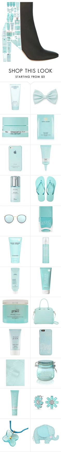 """My Beautiful Aqua Ankle Book!"" by stelbell ❤ liked on Polyvore featuring Calvin Klein, Forever 21, KORA Organics by Miranda Kerr, Estée Lauder, Christian Dior, Havaianas, Ray-Ban, Nails Inc., Marc Jacobs and Kate Somerville"