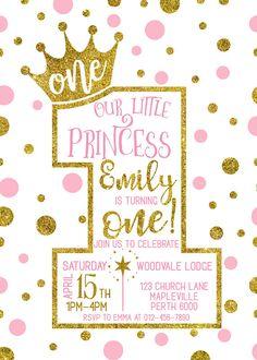 1 invitación de cumpleaños princesa corona invitación niña