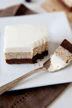 """""""Espresso Cheesecake Brownies"""" Those are three of my favorite food-related words, all in one lovely little bundle. Brownie Recipes, Cheesecake Recipes, Dessert Recipes, Cheesecake Brownies, Cheese Brownies, Coffee Cheesecake, Chocolate Cheesecake, Just Desserts, Delicious Desserts"""