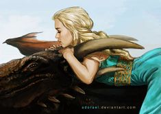 Game of Thrones - Daenerys riding Drogon by Adorael on DeviantArt Got Dragons, Mother Of Dragons, Daenerys Targaryen Art, Targaryen House, Game Of Thrones Art, Jaime Lannister, Fire And Ice, Sansa, Winter Is Coming
