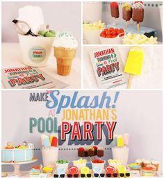 Summer Pool Party with Lots of Really Cute Ideas via Kara's Party Ideas Kara Allen KarasPartyIdeas.com #poolparty #summer #partydecor #party...