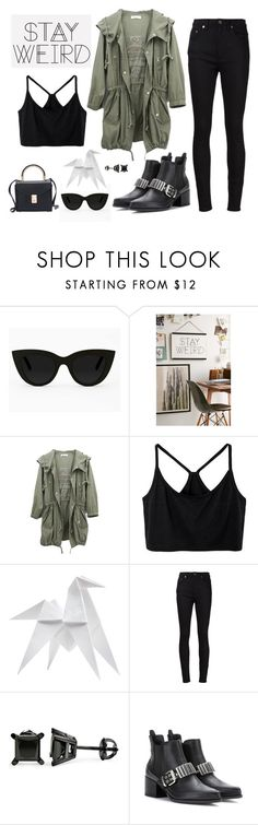 """Stay Weird"" by jess ❤ liked on Polyvore featuring Quay, Urban Outfitters, Othermix, Hermès, Yves Saint Laurent and McQ by Alexander McQueen"