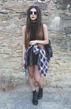 grunge outfit; flannel; sunnies; indie fashion; teen style; black; teen grunge; hipster
