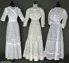 SUMMER TEA GOWNS, 1905-1910  white cotton lawn w/ lace insertions  Augusta Auctions