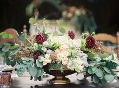 Bouquet Inspiration: Rustic Compote Centerpiece: Photo by Ashley Seawell Photography via Grey Likes Weddings