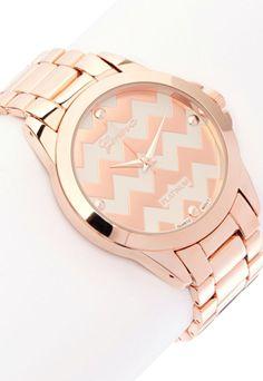 Rose Gold Chevron Watch